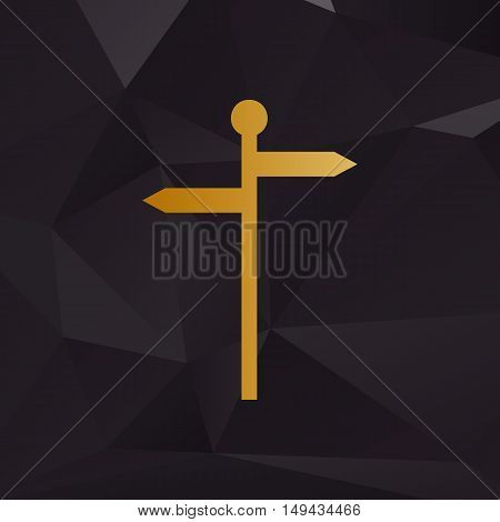 Direction Road Sign. Golden Style On Background With Polygons.