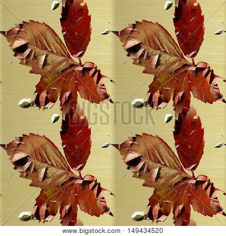 Abstract gold seamless pattern of rusty metal structure with watercolor leaves, cracks and bumps. Gold metal cracked background with red autumn leaves