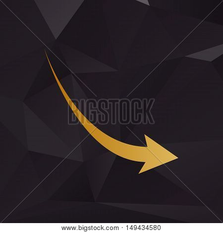 Declining Arrow Sign. Golden Style On Background With Polygons.