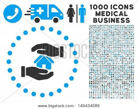Realty Insurance icon with 1000 medical business gray and blue vector pictograms. Collection style is flat bicolor symbols, white background.