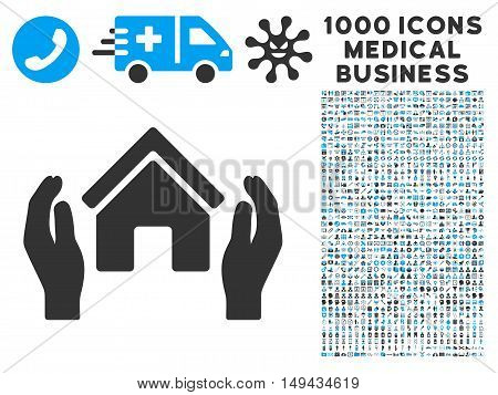 Realty Insurance Hands icon with 1000 medical commerce gray and blue vector pictographs. Clipart style is flat bicolor symbols, white background.