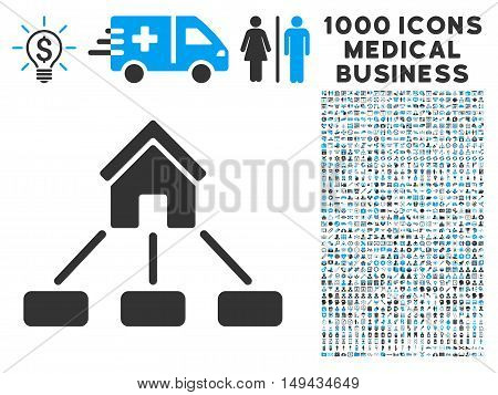 Realty Links icon with 1000 medical commerce gray and blue vector pictograms. Collection style is flat bicolor symbols, white background.