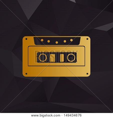 Cassette Icon, Audio Tape Sign. Golden Style On Background With Polygons.