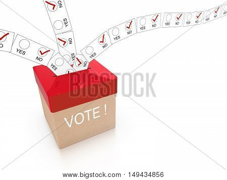 Ballot box in red with the word vote and multiple letters showing no flying in from all directions isolated on white 3D illustration