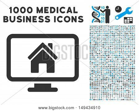 Realty Monitoring icon with 1000 medical commerce gray and blue vector design elements. Collection style is flat bicolor symbols, white background.