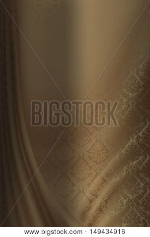 Decorative floral patterns on silk material. Decorative floral silk background for the design.