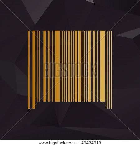 Bar Code Sign. Golden Style On Background With Polygons.