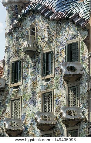 BARCELONA, SPAIN - JULY 12, 2016: Barcelona (Catalunya Spain): artistic building along the Passeig de Gracia
