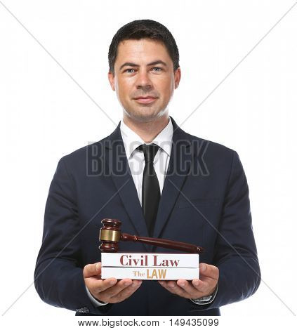 Man holding books and judge gavel on white background