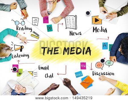 The Media Networking Connecting Online Concept