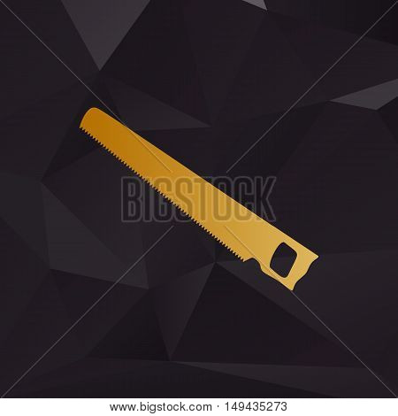 Saw Simple Sign. Golden Style On Background With Polygons.