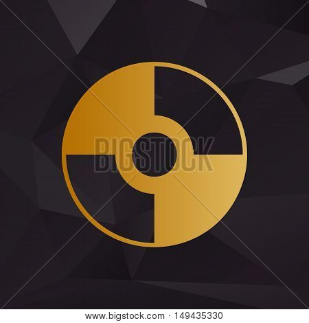 Vector Cd Or Dvd Sign. Golden Style On Background With Polygons.