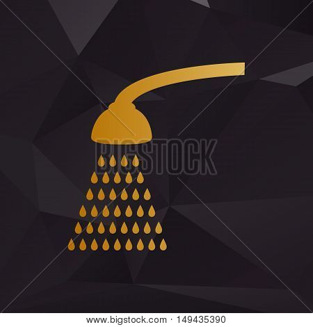 Shower Simple Sign. Golden Style On Background With Polygons.