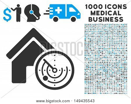 Realty Radar icon with 1000 medical commerce gray and blue vector pictograms. Collection style is flat bicolor symbols, white background.