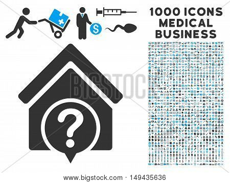 Realty State icon with 1000 medical commerce gray and blue vector design elements. Clipart style is flat bicolor symbols, white background.