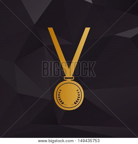 Medal Simple Sign. Golden Style On Background With Polygons.