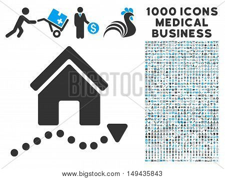 Realty Trend icon with 1000 medical commercial gray and blue vector design elements. Collection style is flat bicolor symbols, white background.