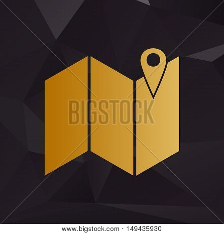 Pin On The Map. Golden Style On Background With Polygons.