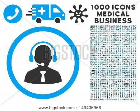 Reception Operator icon with 1000 medical commerce gray and blue vector pictographs. Clipart style is flat bicolor symbols, white background.