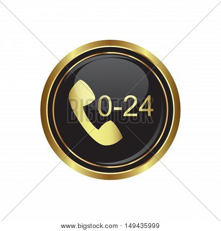 Support center call 24 hours icon on the button. Vector illustration
