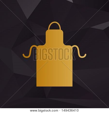 Apron Simple Sign. Golden Style On Background With Polygons.