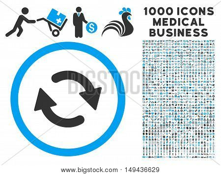 Refresh icon with 1000 medical commercial gray and blue vector pictograms. Set style is flat bicolor symbols, white background.