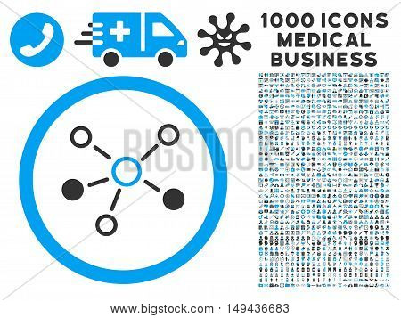 Relations icon with 1000 medical commercial gray and blue vector pictograms. Set style is flat bicolor symbols, white background.