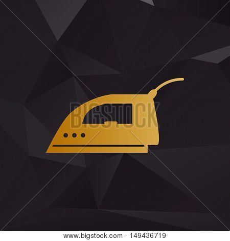 Smoothing Iron Sign. Golden Style On Background With Polygons.