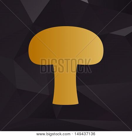 Mushroom Simple Sign. Golden Style On Background With Polygons.