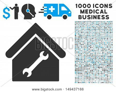 Repair Building icon with 1000 medical commercial gray and blue vector pictographs. Design style is flat bicolor symbols, white background.