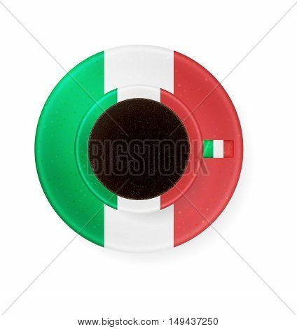 Cup With Colors Of Italian Flag Of Coffee