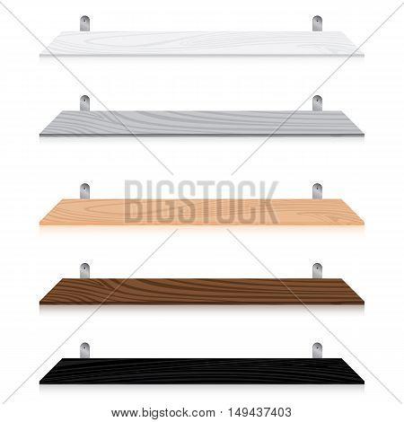 Blank wooden bookshelf set isolated on white background. Multicolored Blank wooden bookshelf set.