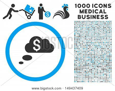 Richness Dream Clouds icon with 1000 medical commercial gray and blue vector pictographs. Design style is flat bicolor symbols, white background.