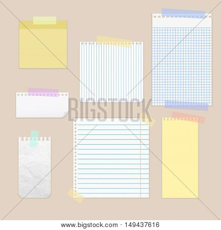 Pieces of cut out white lined notebook paper are stuck on background