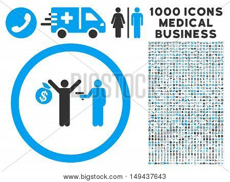 Robbery icon with 1000 medical business gray and blue vector pictograms. Design style is flat bicolor symbols, white background.