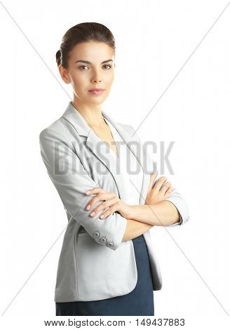 Beautiful businesswoman on white background