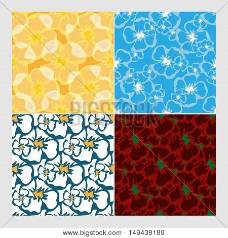 colorful vector seamless floral patterns set. Elements for your design. Eps10
