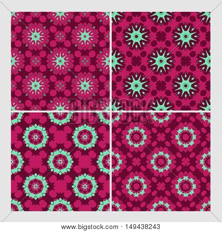 retro floral colorful vector seamless patterns set. Elements for your design. Eps10