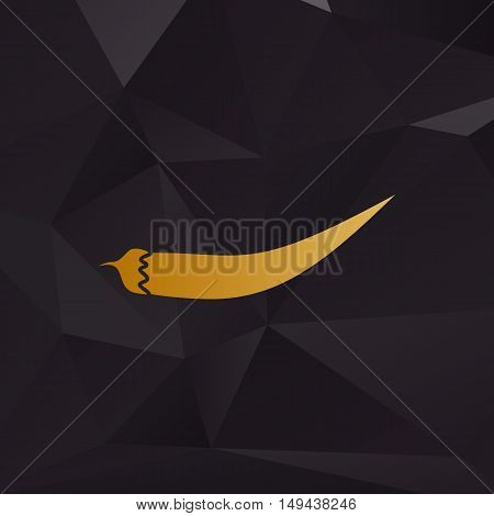 Chilli Pepper Sign. Golden Style On Background With Polygons.