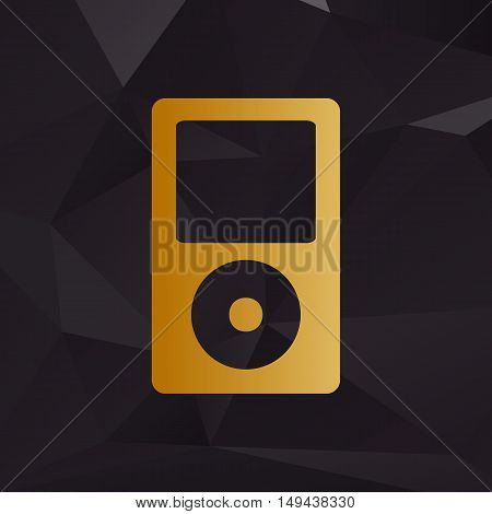Portable Music Device. Golden Style On Background With Polygons.