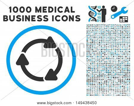 Rotate CW icon with 1000 medical commercial gray and blue vector design elements. Collection style is flat bicolor symbols, white background.