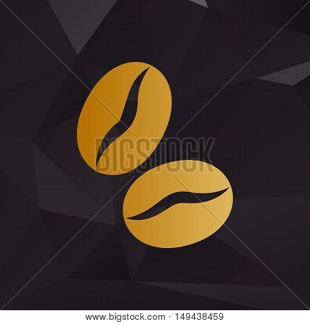Coffee Beans Sign. Golden Style On Background With Polygons.