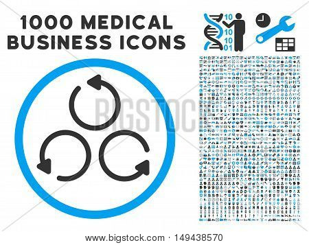Rotation icon with 1000 medical business gray and blue vector design elements. Design style is flat bicolor symbols, white background.