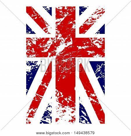 British flag vertical. Grunge old style. Blue red and white national design isolated on white background. Symbol of England Britain United Kingdom. Fashion template typography. Vector illustration