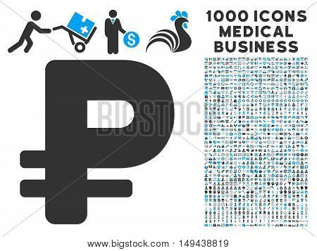 Rouble icon with 1000 medical commercial gray and blue vector pictographs. Design style is flat bicolor symbols, white background.