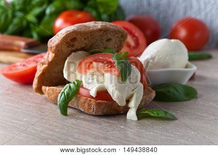 Sandwich With Mozzarella, Tomato And Basil