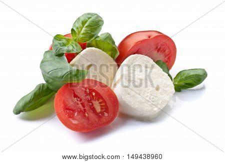 Mozzarella With Tomato And Basil Isolated On White
