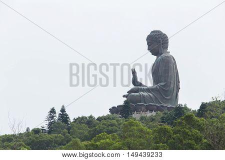 Enormous Tian Tan Buddha At Po Lin Monastery In Hong Kong