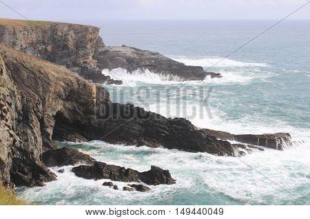 Coastline of Mizen Head in stormy weather County Cork, Ireland