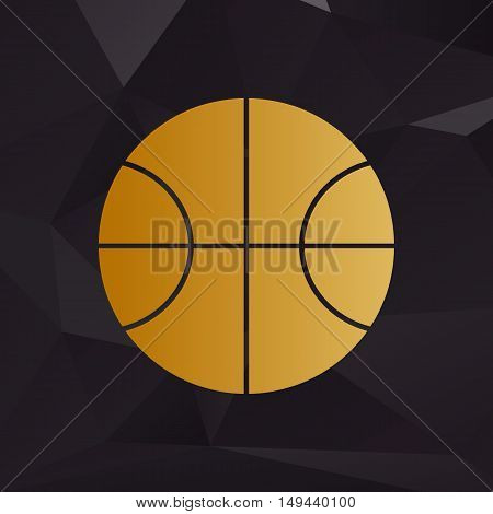 Basketball Ball Sign Illustration. Golden Style On Background With Polygons.